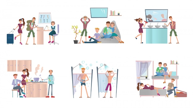 Jonge mensen die in een hostel wonen. mannen en vrouwen in goedkoop hotel. illustratie set, op witte achtergrond.