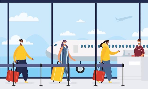 Jonge mensen die medische maskers met koffers in luchthaven dragen