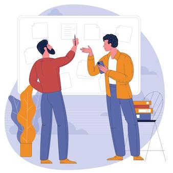 Jonge mensen die met bedrijfsdashboard werken. vlak concept.