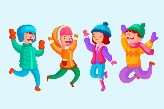 Jonge mensen die winterkleren dragen