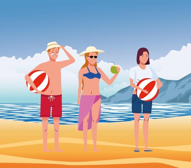 Jonge mensen die zwemkleding op de strandkarakters dragen