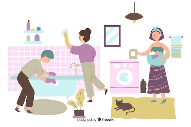 Jonge mensen doen huishoudelijk werk in de badkamer