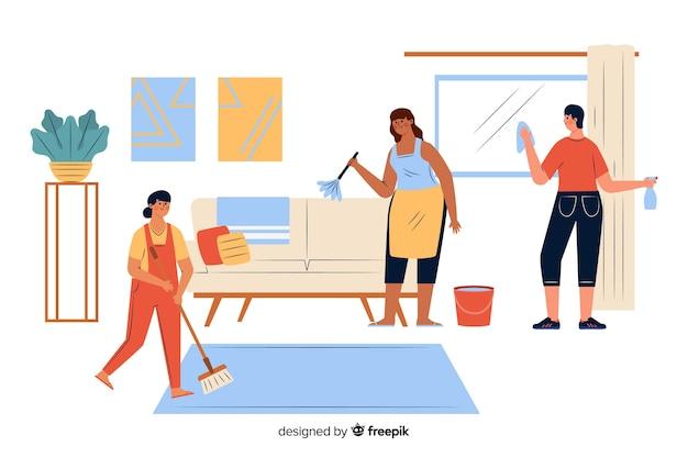Jonge mensen doen huishoudelijk werk in de woonkamer