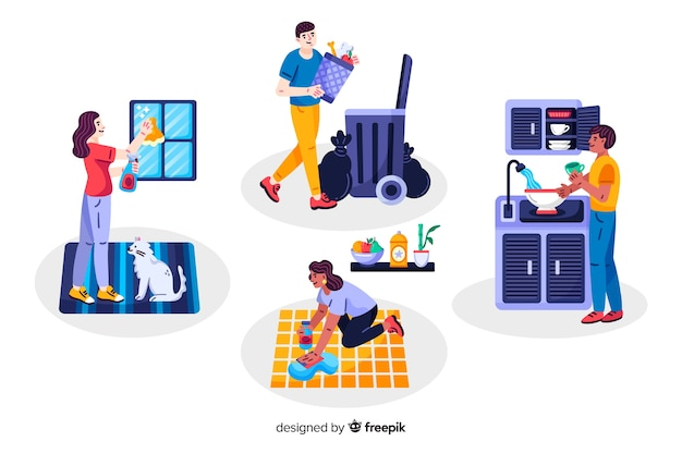 Jonge mensen doen huishoudelijk werk thuis