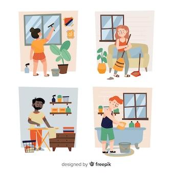 Jonge mensen doen huishoudelijk werk