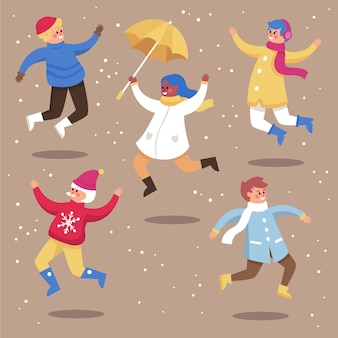 Jonge mensen dragen winterkleren set springen