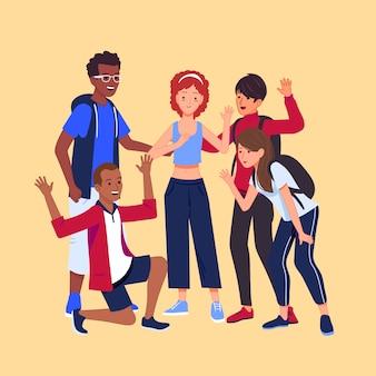 Jonge mensen gelukkig zijn