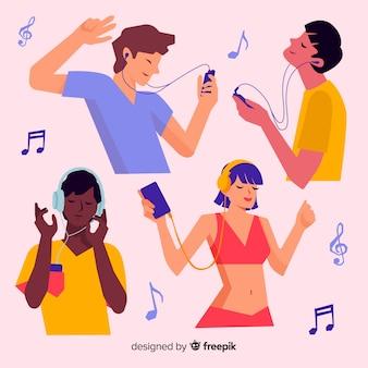 Jonge mensen genieten van het luisteren naar muziek