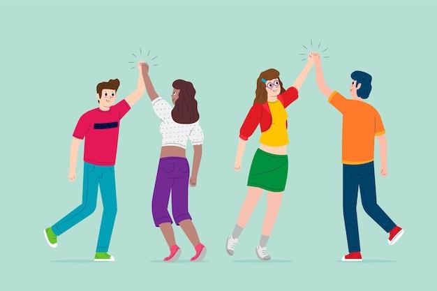 Jonge mensen geven high five set