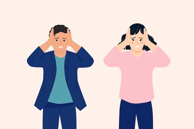 Jonge mensen houden het hoofd vast vanwege hoofdpijn, stress, gefrustreerd, burn-out. negatieve emoties concept