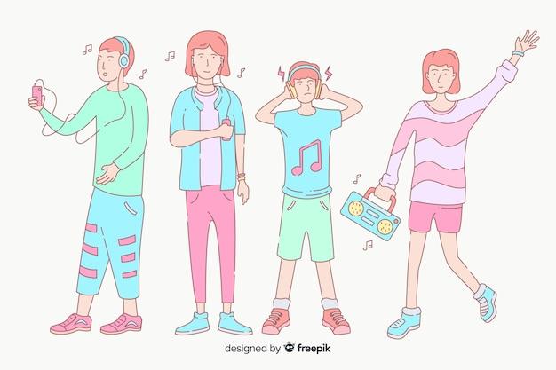 Jonge mensen luisteren naar muziek in koreaanse tekenstijl
