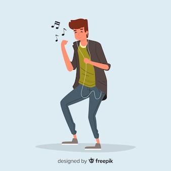 Jonge mensen luisteren naar muziek