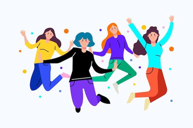 Jonge mensen met kleurrijke kleding