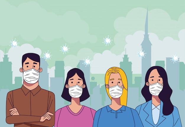 Jonge mensen met medische maskers karakters