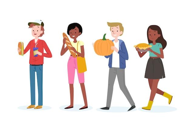 Jonge mensen met pompoen en taart