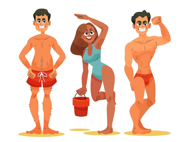 Jonge mensen op het strand Gratis Vector