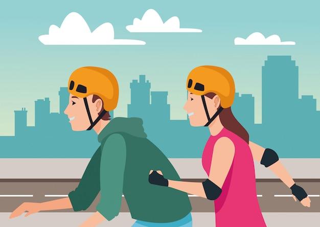 Jonge mensen op skateboard en schaatsen