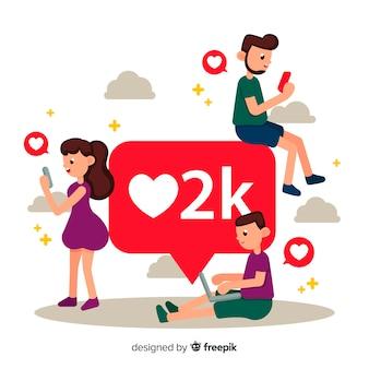 Jonge mensen op zoek naar likes op sociale media