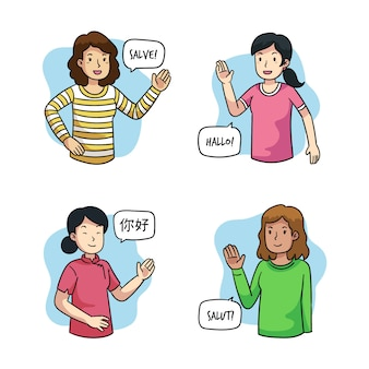 Jonge mensen praten in verschillende talen groep