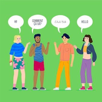 Jonge mensen praten in verschillende talen instellen