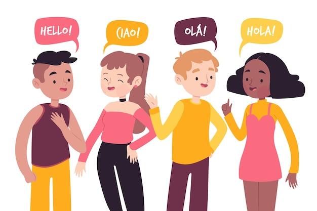 Jonge mensen praten in verschillende talen