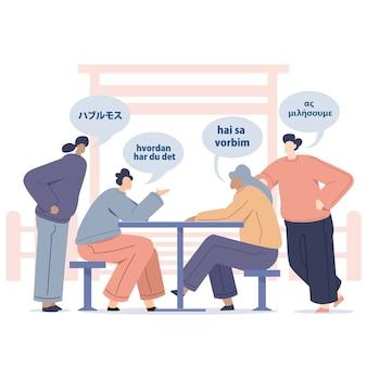 Jonge mensen praten vreemde talen met praatjebellen