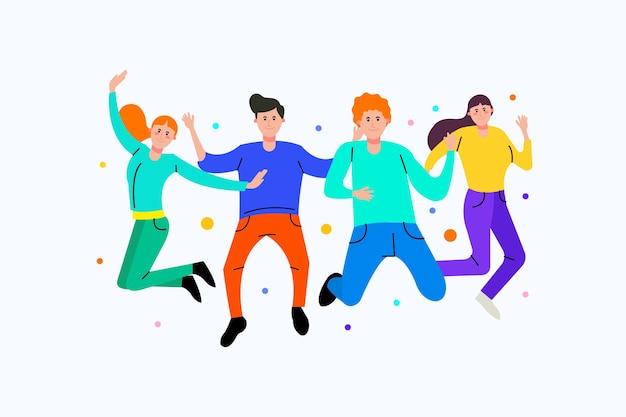 Jonge mensen samen springen