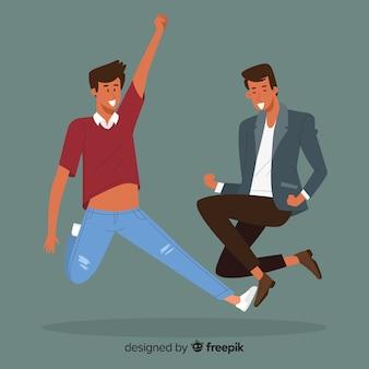 Jonge mensen springen en plezier maken