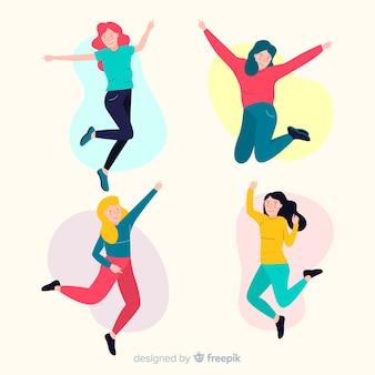 Jonge mensen springen in de lucht