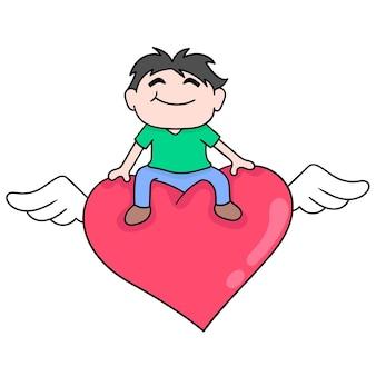 Jonge mensen zijn blij omdat ze verliefd worden, vectorillustratiekunst. doodle pictogram afbeelding kawaii.