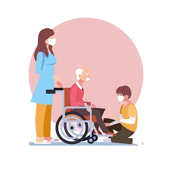 Jonge mensen zorgen voor de oude man in rolstoel