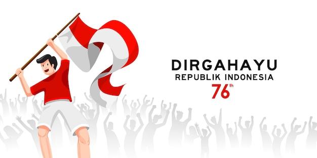 Jonge mensen zwaaien en vieren 76 jaar indonesië vrijheid met geest en vreugde