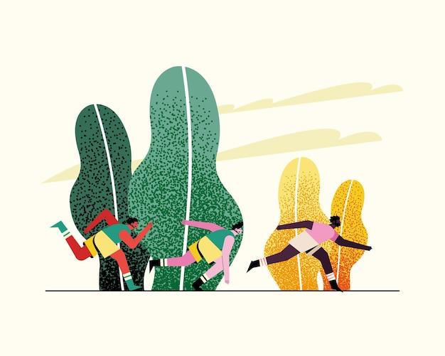 Jonge mensenatleten die in de illustratie van parkkarakters lopen