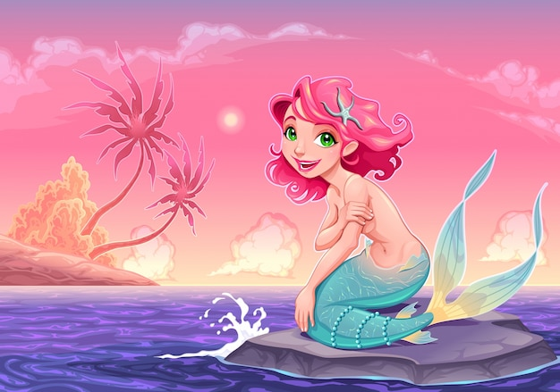 Jonge mermaid dichtbij de kust vector cartoon illustratie