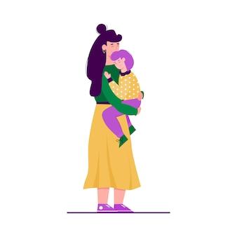 Jonge moeder die haar baby zorvuldig en liefde koesteren, illustratie