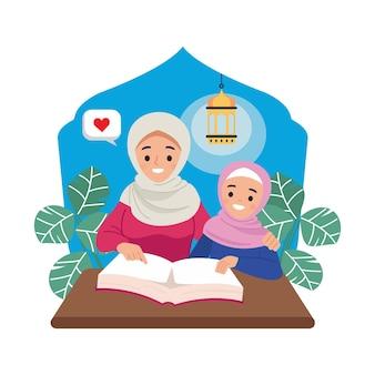 Jonge moeder die haar dochter leert om koran te lezen.
