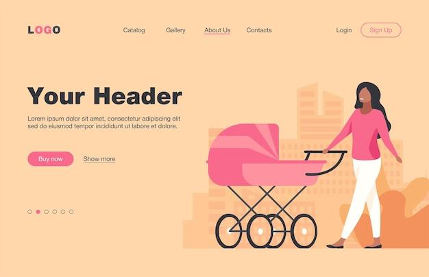 Jonge moeder die met kinderwagen langs straat loopt. moeder, kind, moederschap platte illustratie. ouderschap en stedelijke levensstijl concept websiteontwerp of bestemmingswebpagina