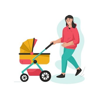 Jonge moeder die met pasgeboren baby in wandelwagen loopt