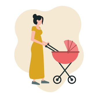 Jonge moeder loopt met een kinderwagen vectorillustratie in een vlakke stijl