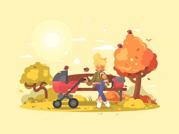 Jonge moeder met baby in wandelwagen