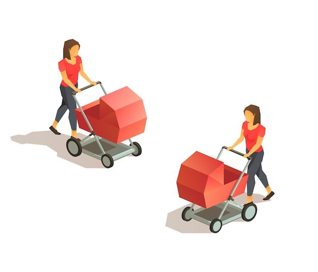 Jonge moeder met kinderwagen wandelen