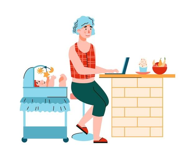 Jonge moeder stripfiguur thuis op afstand zorgen voor haar baby, platte cartoon afbeelding werken. thuiskantoor, freelance en extern werkconcept.
