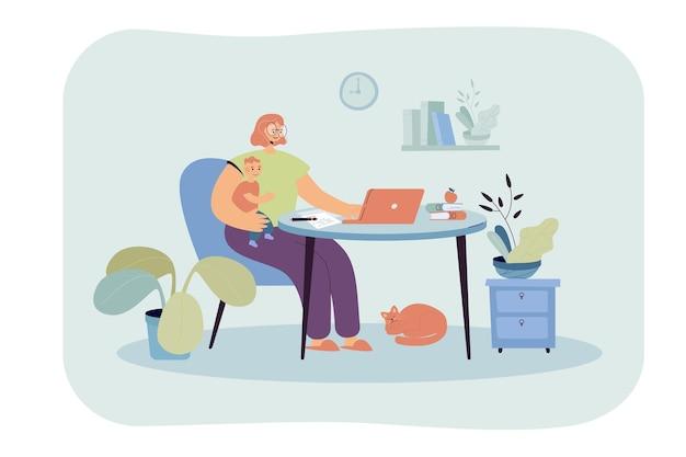 Jonge moeder werkt online thuis met kind. vlakke afbeelding