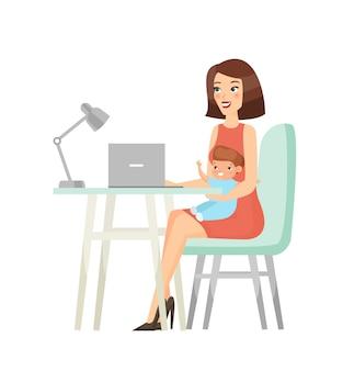 Jonge moeder zit met baby en werkt op laptop