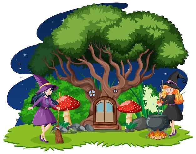 Jonge mooie heksen met cartoon stijl van de boomhut geïsoleerd op een witte achtergrond