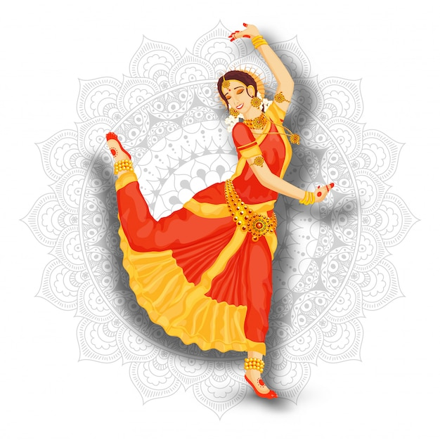 Jonge mooie indische vrouwendanser die bharatnatyam op de witte achtergrond van het mandalapatroon uitvoert.
