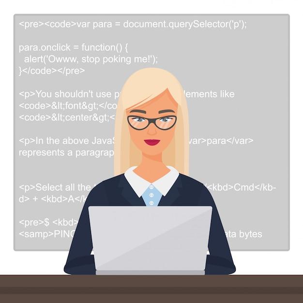 Jonge mooie mooie blonde dame zwarte programmeur zit op het bureaublad en werkt op de laptop met code. professionele vrouwelijke vrouw karakter codering