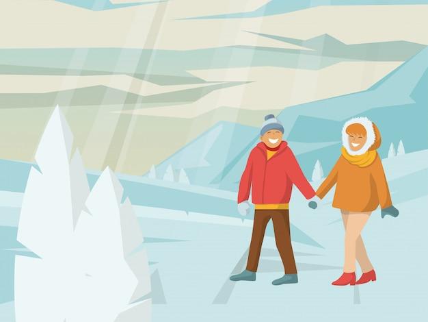 Jonge mooie paar karakter mannelijke vrouwelijke wandelen winter nationaal park vrouw en man buiten reizen illustratie.