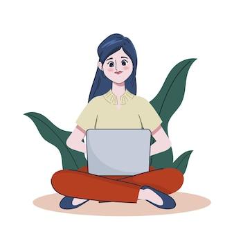 Jonge mooie portretvrouw die laptop met behulp van