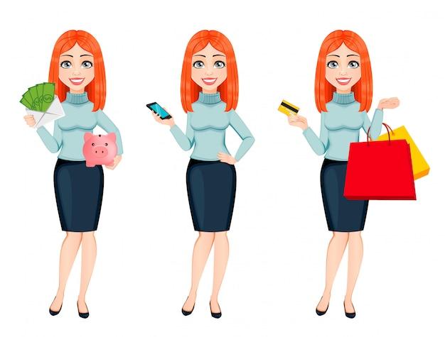 Jonge mooie roodharige zakenvrouw